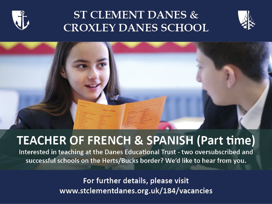 #teachingvacancyuk  French and Spanish Part time SouthEast Apply now: https://t.co/D5q67MkdiX By: 16 May 2018 For: 1 Sept 2018 Come and join our team at an expanding Trust of two oversubscribed and successful schools on the Herts/Bucks border. https://t.co/SysP6tFQ0b