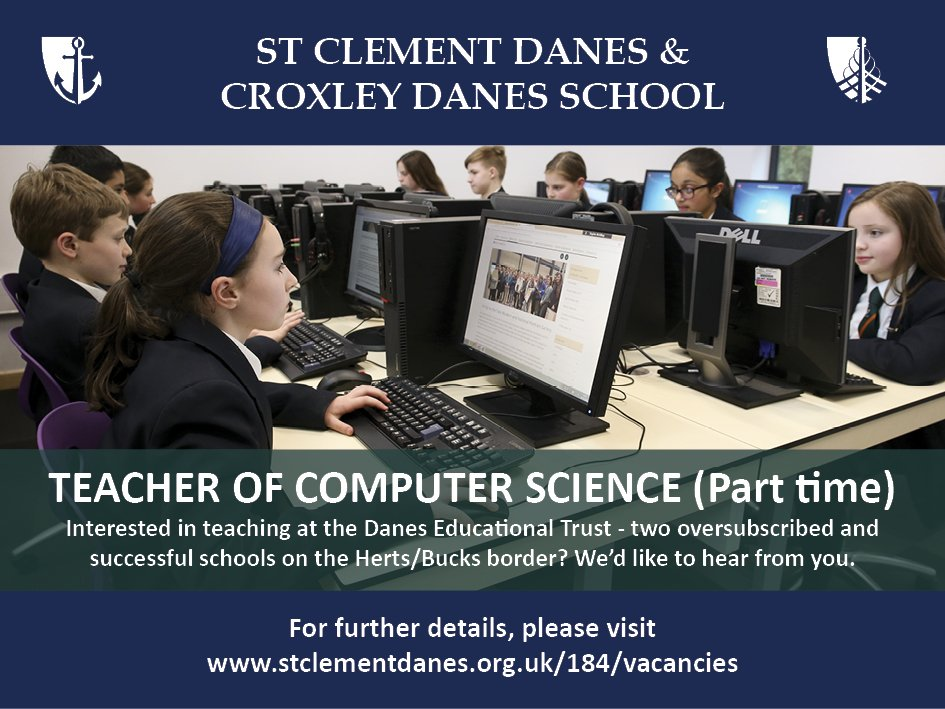 #teachingvacancyuk  Computer Science Part time SouthEast Apply now: https://t.co/6SZoZeT9ec  By: 21 May 2018 For: 1 Sept 2018 Come and join our team at an expanding Trust of two oversubscribed and successful schools on the Herts/Bucks border. https://t.co/AZJtUsLklu