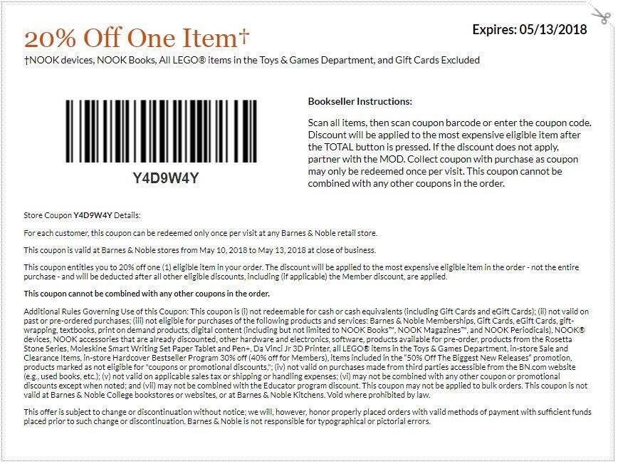 Barnes and Noble Coupon, Promo Codes & Cashback