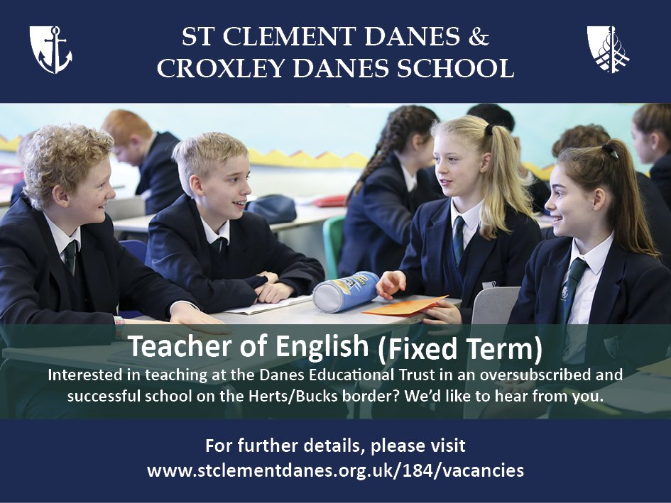 #teachingvacancyuk  English Full time (fixed term) SouthEast Apply now: https://t.co/lHozqUu1sb By: 21 May 2018 For: 1 Sept 2018 Come and join our team at an expanding Trust of two oversubscribed and successful schools on the Herts/Bucks border. https://t.co/chgUsfKO4H