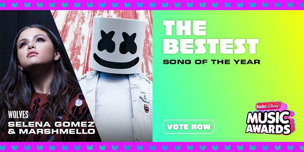 "RT to vote for #SelenaGomez & @marshmellomusic ""Wolves"" for #TheBestest! @radiodisney #RDMA @selenagomez"