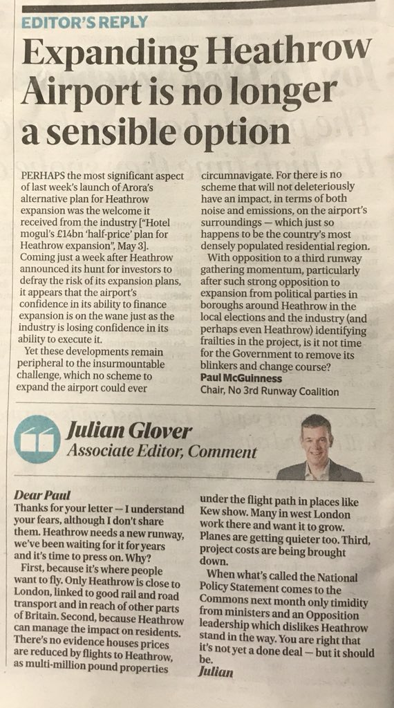 Here's our letter in today's Evening Standard. Worth noting that the author of the 'editor's reply' was, until recently, a Special Adviser at the Department for Transport!