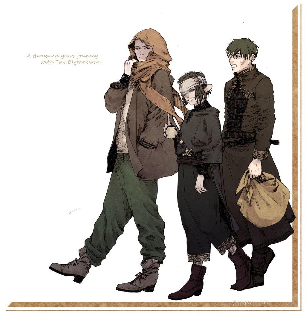 私服 #竜の娘と千年の旅路 お休みの日に一緒に出掛けるイヴリル、ヤジェンカ、ヴァッツ ヴァッツは荷物持ち