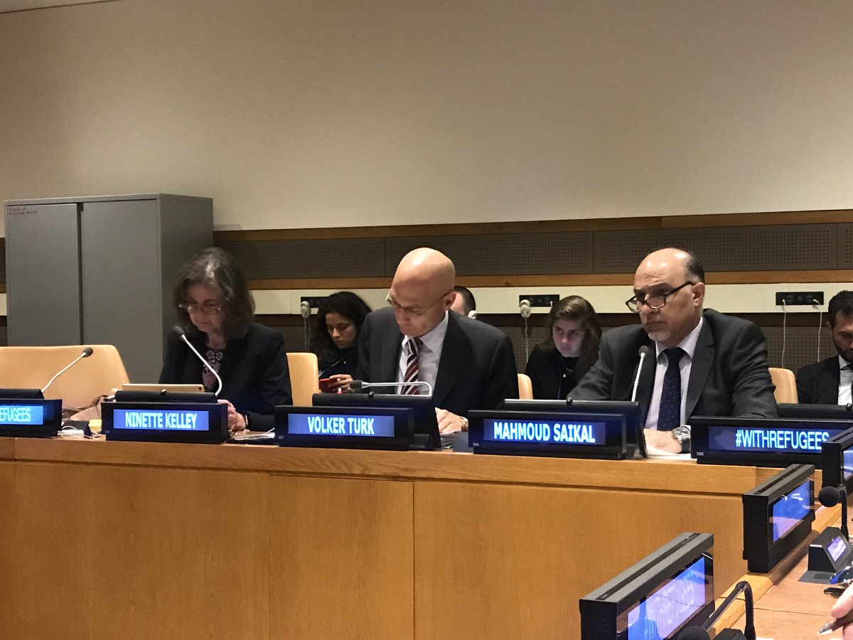 Amb @MahmoudSaikal chairs the exchange w UN Member States on 4th round of consultations on Global Compact on #Refugees. In his national capacity, he called for addressing the root causes of the conflicts. He said #RefugeeCarers should not be seen at the service of #RefugeeMakers