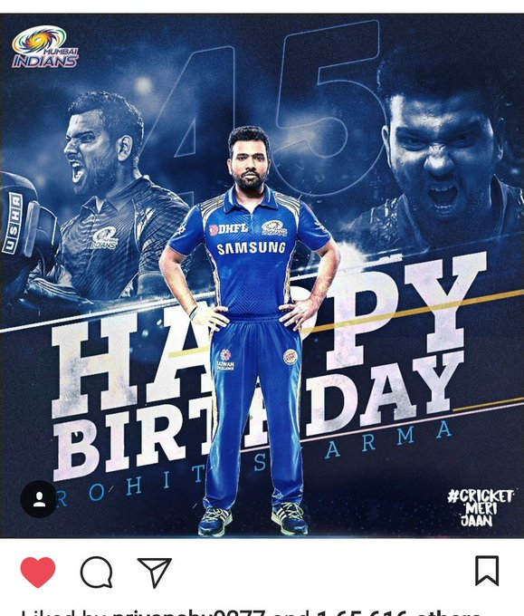 Happy Birthday my favourite cricketer Rohit sharma