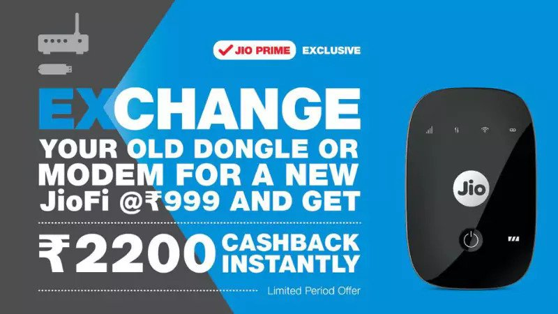 Get 4G JioFi in Rs 999 under Exchange offer with Rs 2200 Cashback