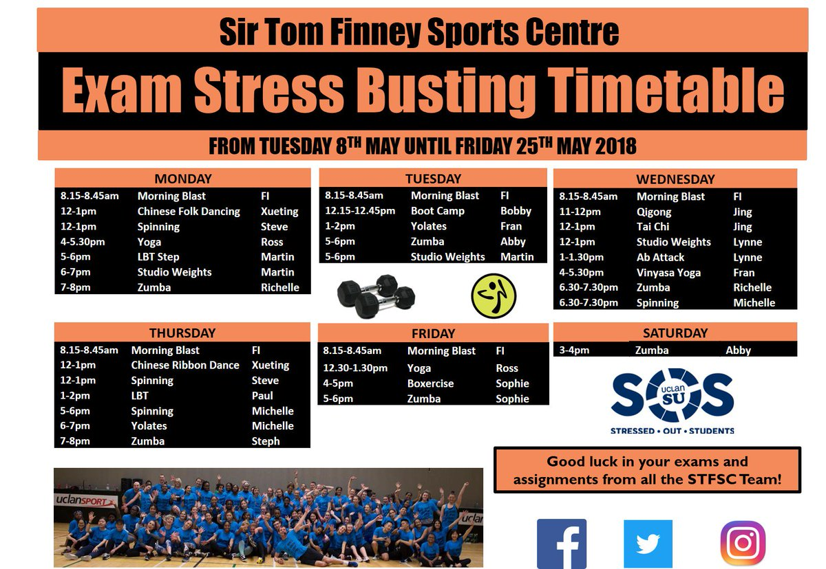@UCLAN_STFSC are running extra sessions every weekday from Tuesday 8th May  to Friday 25th May to help you relax during your exam period.