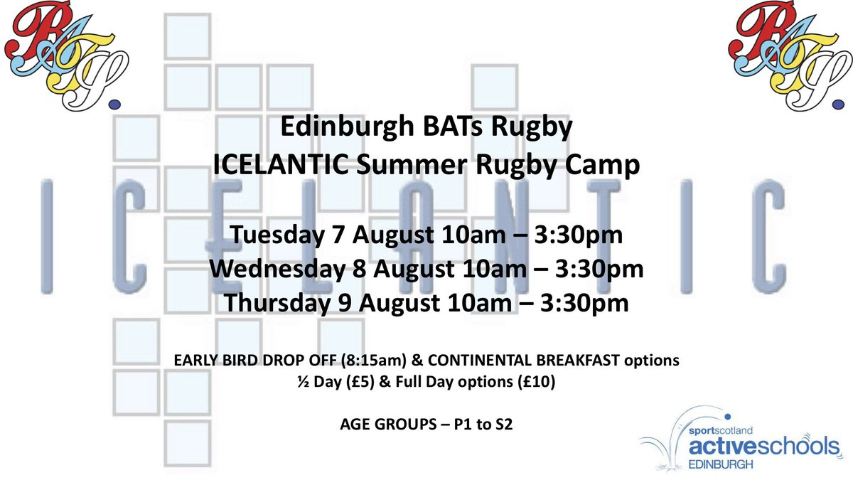 BATs Rugby Icelantic Summer Camp Tuesday 7 August Wednesday 8 August  Thursday 9 August Please Click On Link Below To Sign Up ...