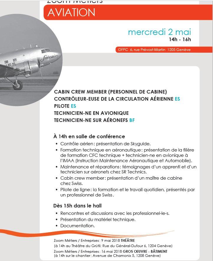 Zoom métiers spécial aviation, mercredi 2 mai 2018, de 14h-16h #cdmgeneve entrée libre. Toutes les formations proposées https://tinyurl.com/y9hbb298  - FestivalFocus