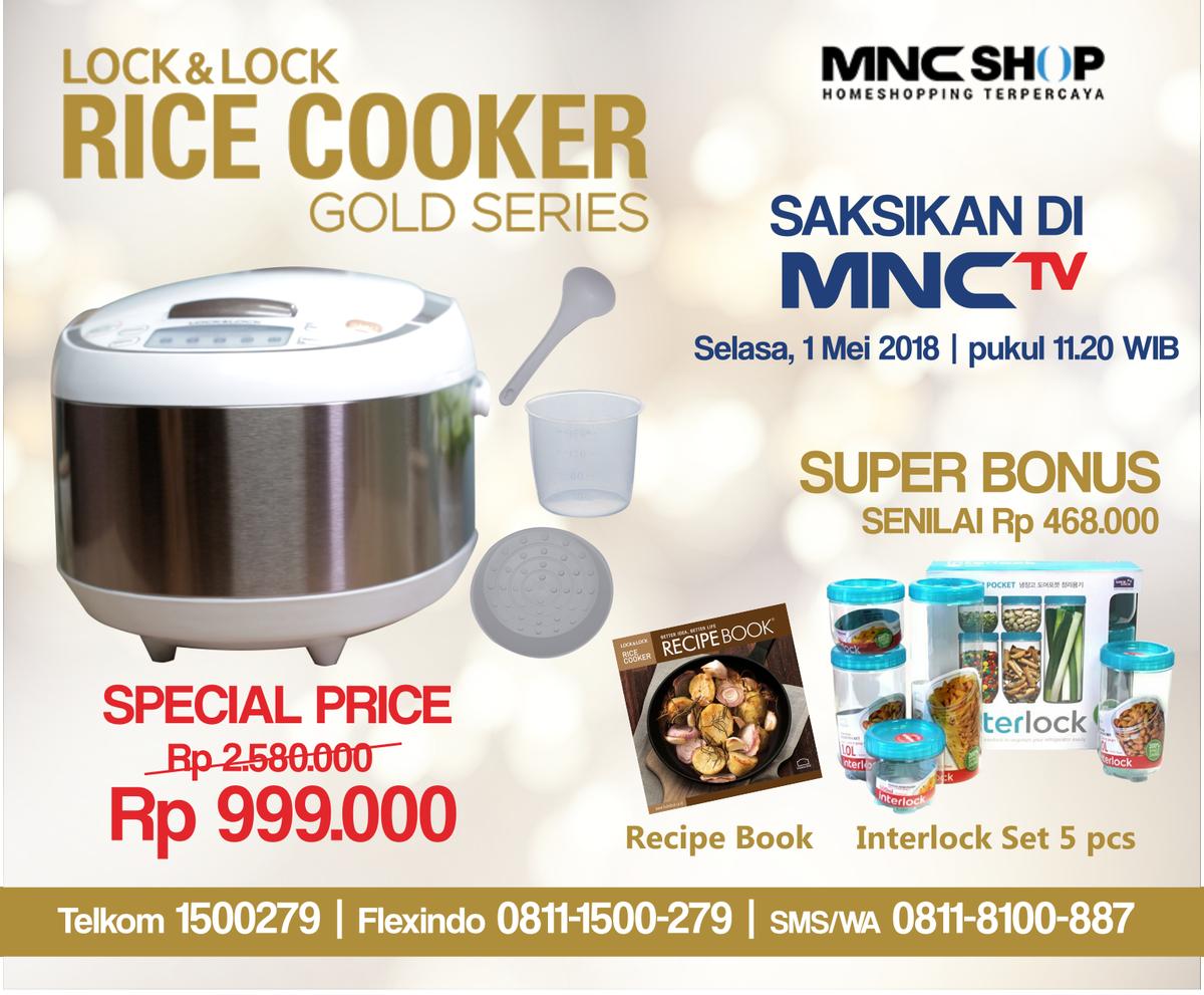 Hasil gambar untuk Lock N Lock Rice Cooker Gold Series mnc shop