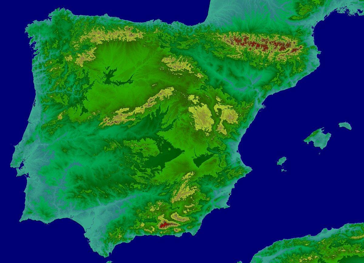 Elevation Map Of Spain.Atdi On Twitter Atdi Digitalterrainmodel Spain At 20 M