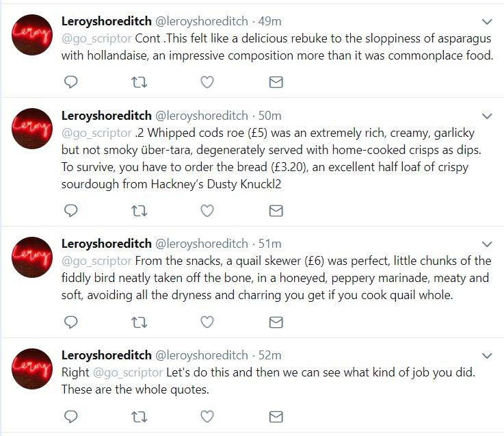 George Reynolds On Twitter David Sexton Eating At Leroy Left Me