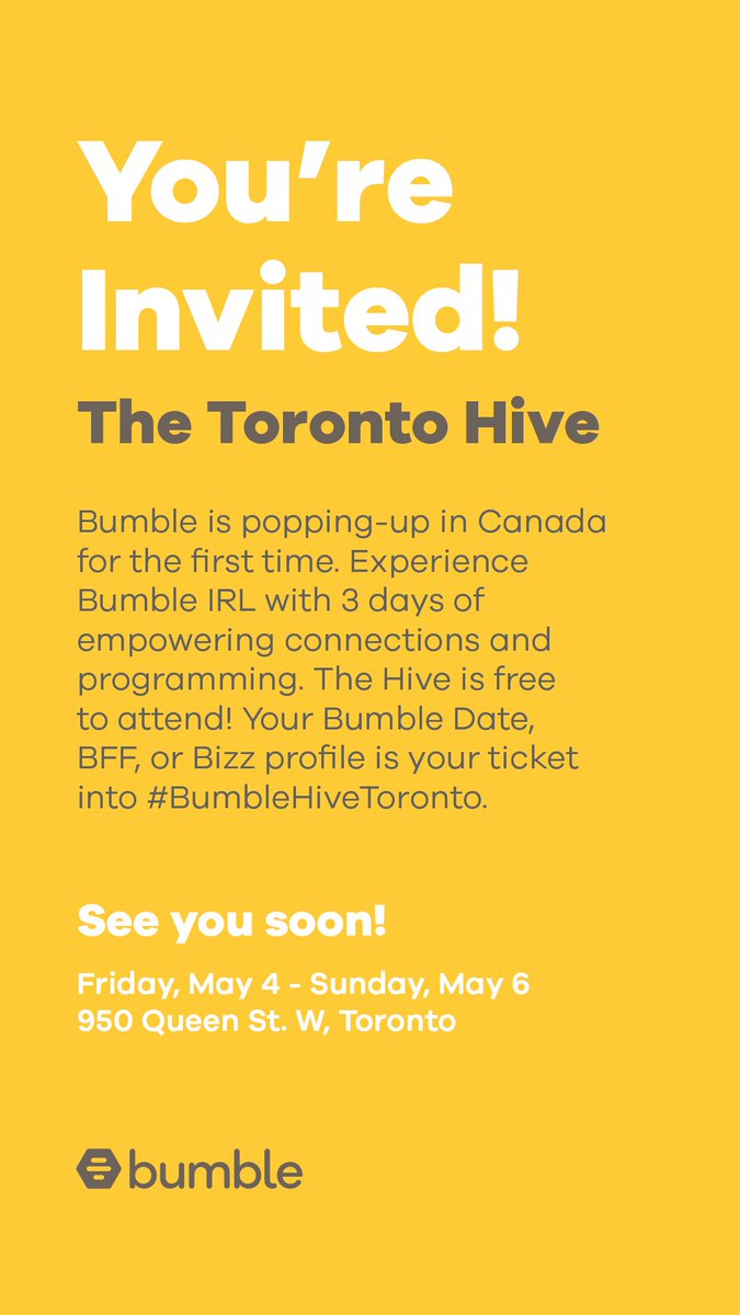 Come to Bumble Hive this weekend!  http://thebeehive.bumble.com/bumbleblog/bumble-hive-toronto  …pic.twitter.com/5PQgiPoP4h