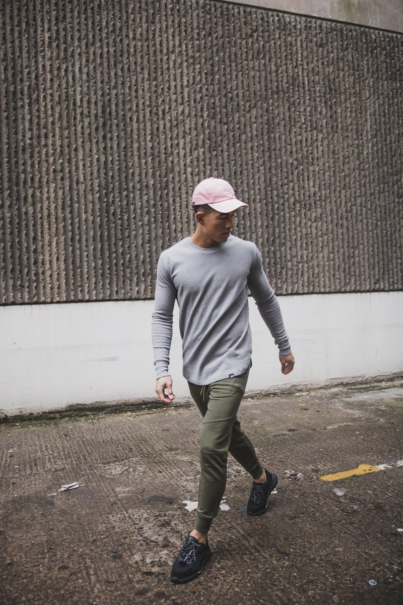 44LDN Cap in Pink - 44LDN LS Curved Hem T-Shirt in Grey Melange - 44LDN Slim Fit Sweat Pants in Olive Green - - Available now at http://www.44ldn.com   - - @lukewoodland - 📷 @lixmheeley - - #44LDn