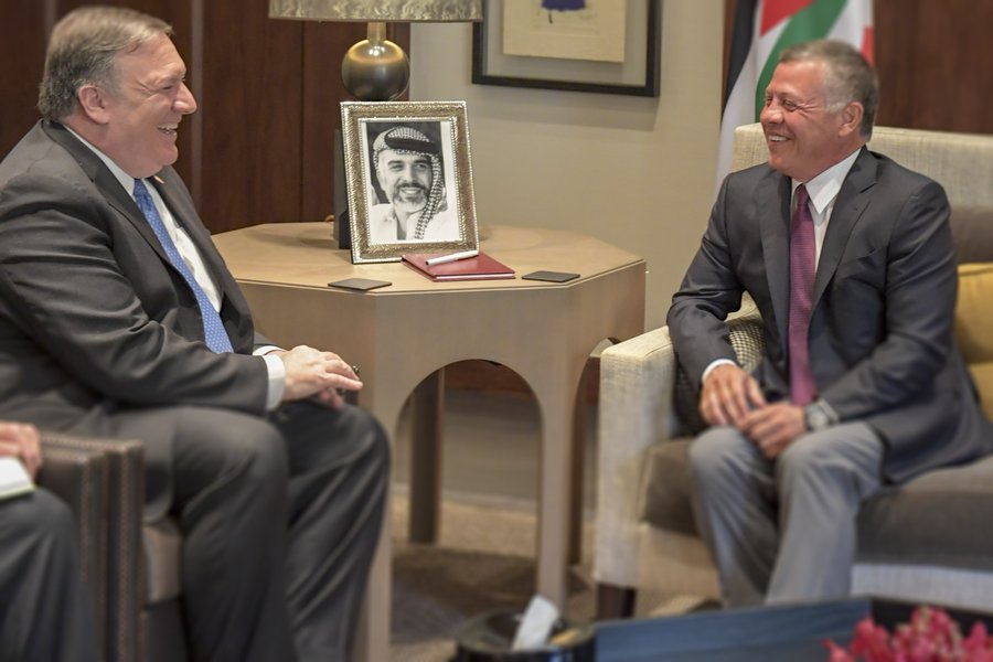 U.S. Secretary of State Mike Pompeo meets with Jordanian King Abdullah II Ibn Al Hussein at the Husseiniyyah Palace in Amman, Jordan, on April 30, 2018.