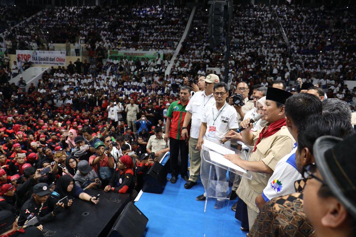 Hasil gambar untuk Prabowo hari buruh