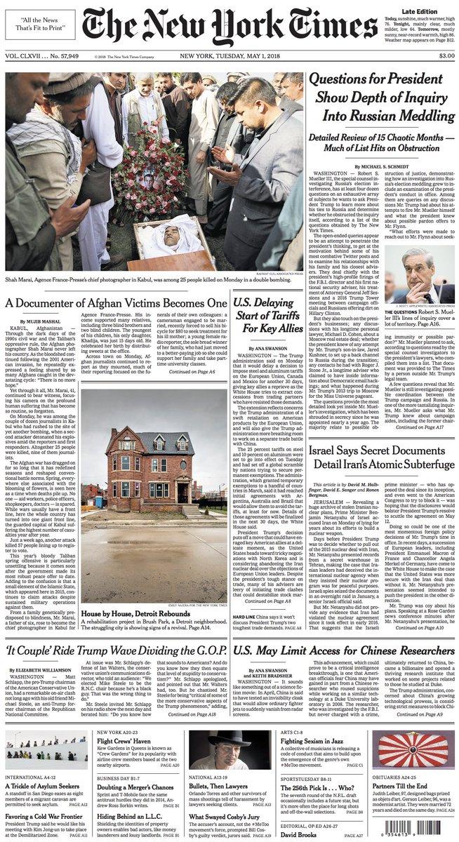 🇺🇸 L'enterrement du photographe #ShahMarai @afpfr mort dans double attentat à Kaboul (Une New York Times, photo Rahmat Gul/Associated Press)