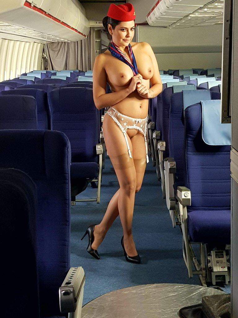 Stewardess handjob porn pics