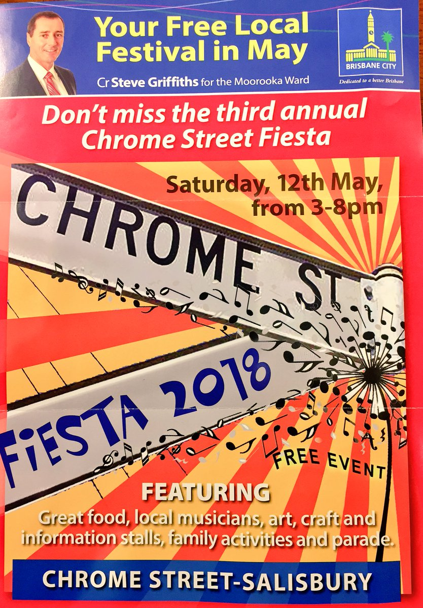 Put the date in your diary! A bigger, better Chrome St Festival! #Salisbury  #Moorooka #newspic.twitter.com/fnkaLcSxBL