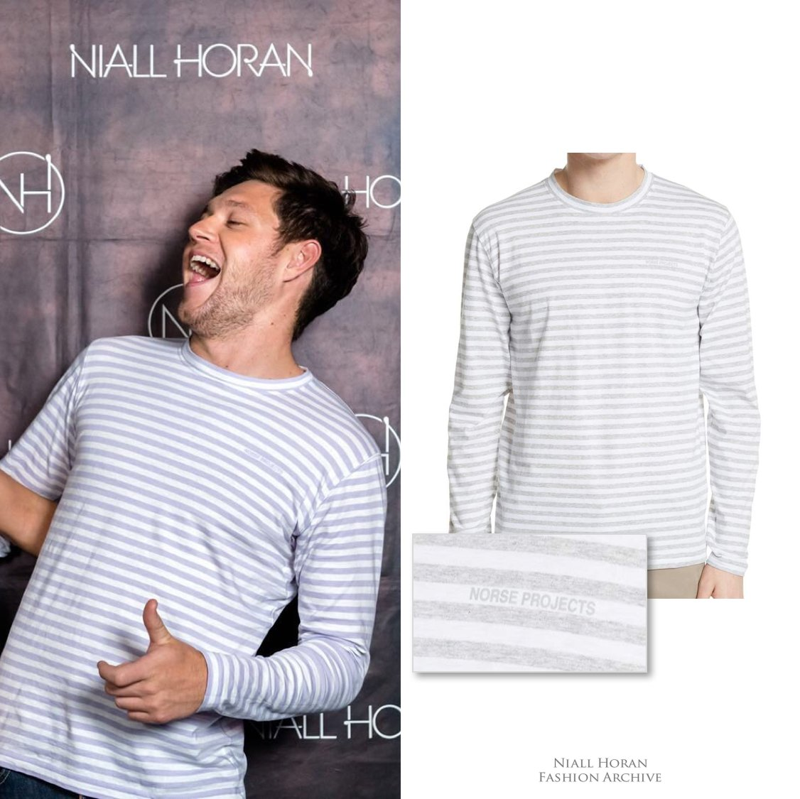fd050a301 04/28/18 | Niall wore a @norseprojects James striped long-sleeve t-shirt  ($100) at the Amsterdam meet & greet. http://shopstyle.it/l/IjDk  pic.twitter.com/ ...