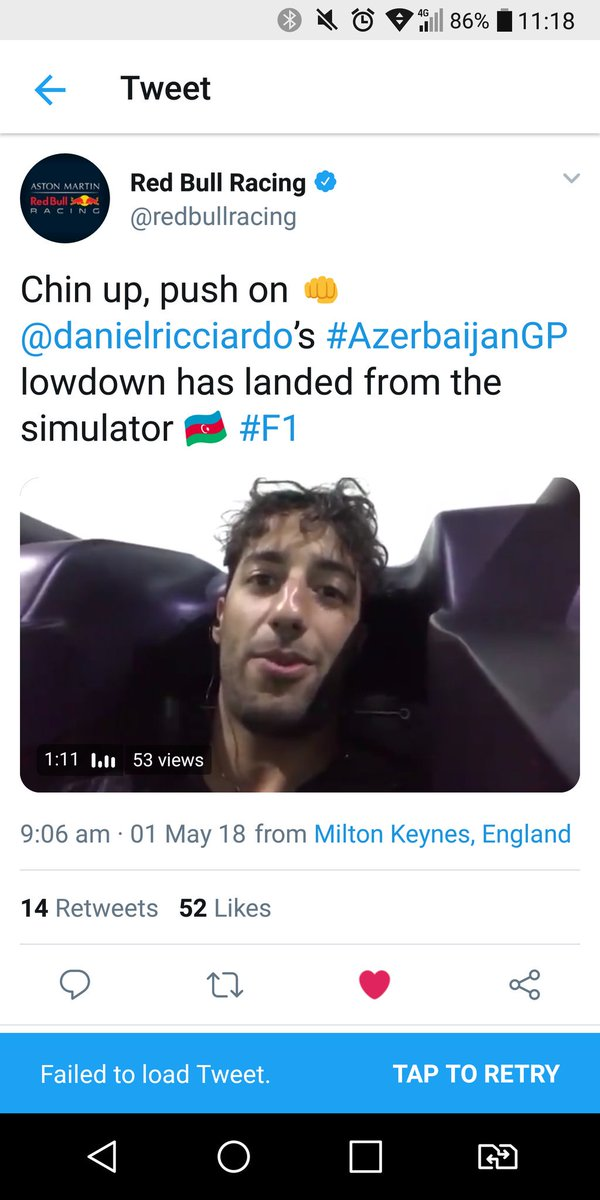@redbullracing why is @danielricciardos Baku lowdown (screenshot below) no longer on Twitter? #F1 #AzerbaijanGP