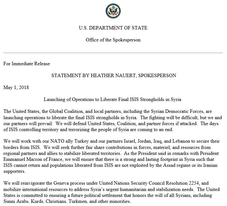 A statement by Spokesperson Heather Nauert on Launching of Operations to Liberate Final ISIS Strongholds in Syria.