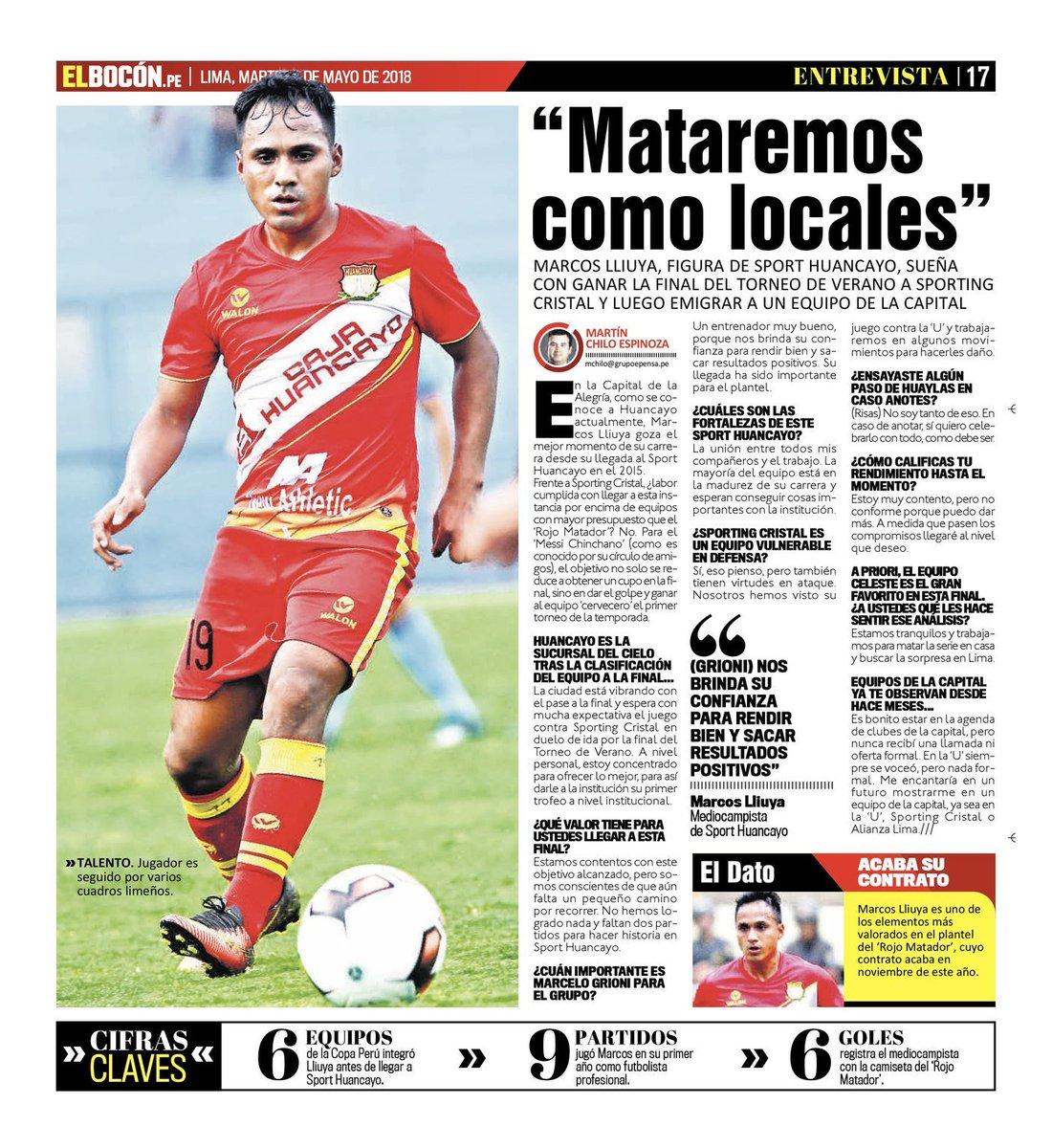 Entrevista al mediocampista del @Sport_Huancayo , @MarcosLliuya , en la edición impresa del diario Bocón y en la versión digital de @elbocononline previo a la final del Torneo de Verano 2018 frente a @ClubSCristalpic.twitter.com/qNZZP0eJTq