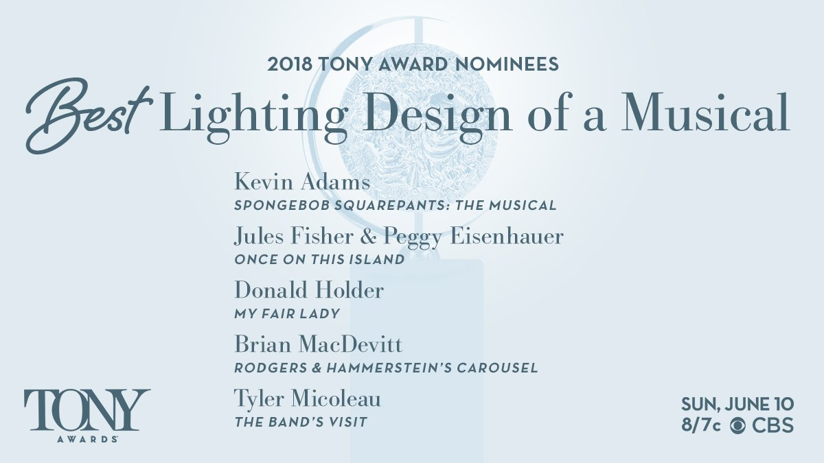 ... for Best Lighting Design of a Musical Kevin Adams (@SpongeBobBway) Jules Fisher u0026 Peggy Eisenhauer (@OnceIslandBway) Donald Holder (@MyFairLadyBway) ...  sc 1 st  Twitter & The Tony Awards on Twitter: