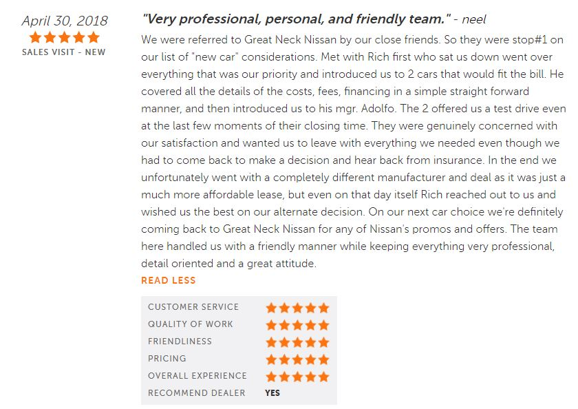 83a0f03744e360 ... lots of happy clients and even some awesome reviews like this one. Want  a truly exceptional car-buying experience  Visit Great Neck Nissan TODAY!
