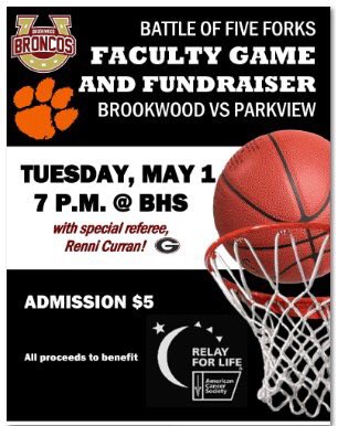 test Twitter Media - Parkview vs. Brookwood Faculty Basketball - tonight at Brookwood.  $5 admission. All proceeds support Relay for Life. Tip off at 7:00pm https://t.co/cB9mxkDv8y