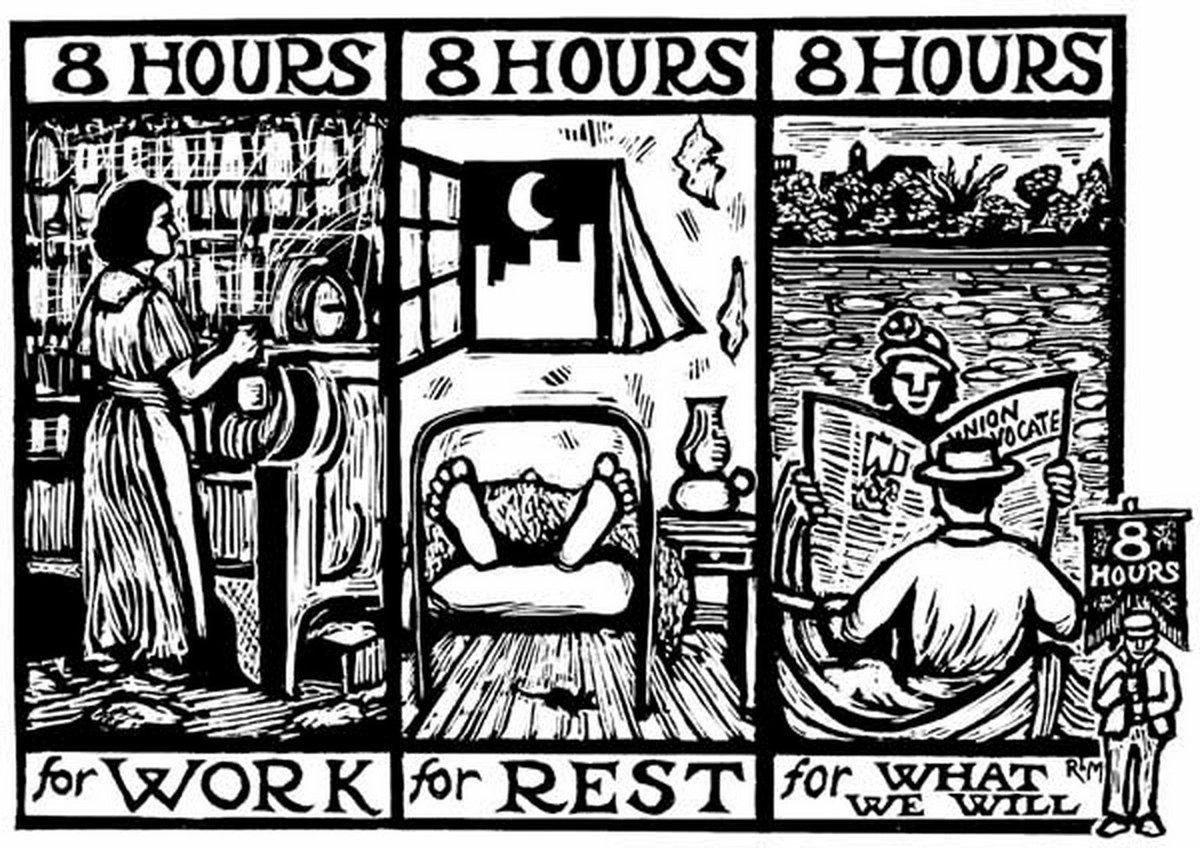 Risultati immagini per 8 hours of work, rest, play