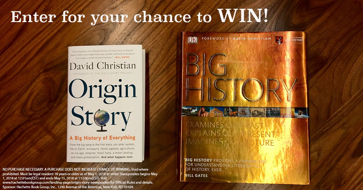 Enter for a chance to win two books—David Christians ORIGIN STORY & BIG HISTORY Big History—that will give you the big history of everything! ow.ly/TLk630jM4pL