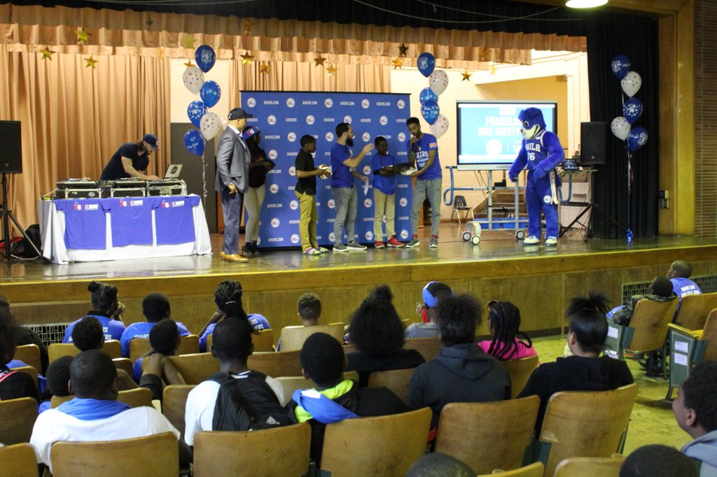 .@sixers teamed up with @RothenbergLaw to promote bike safety at Philadelphia's William Dick School.  @SixersFranklin and @SixersDunkSquad assisted in teaching each student how to have fun while remaining safe on their bikes! #SIXERSSTRONG