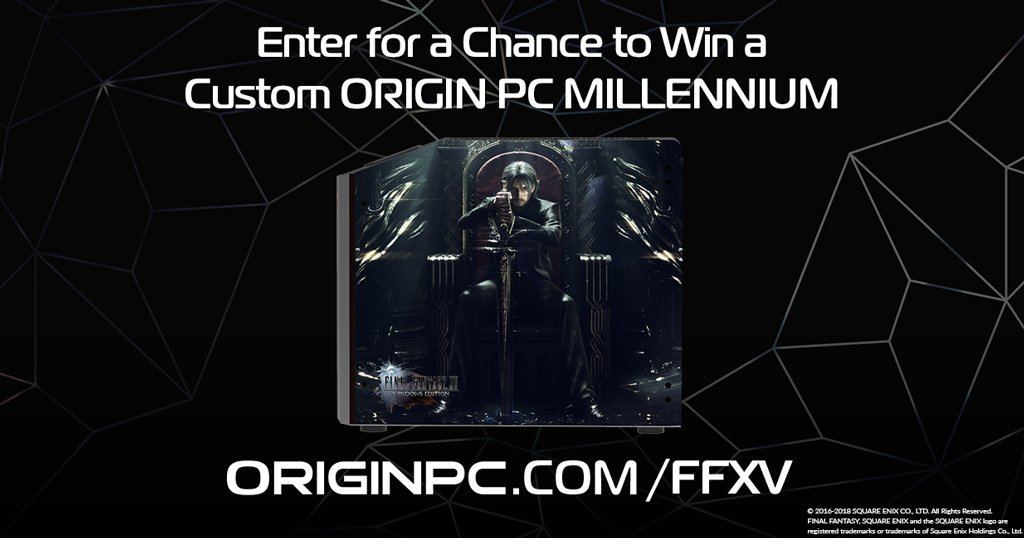 9 days left to enter our giveaway for a MILLENNIUM Gaming desktop with an HD UV Glass Print of FINAL FANTASY XV WINDOWS EDITION artwork! Giveaway ends on 5/3, and the winner will be announced on #ORIGINPCLIVE! Enter for a chance to win: originpc.com/FFXV