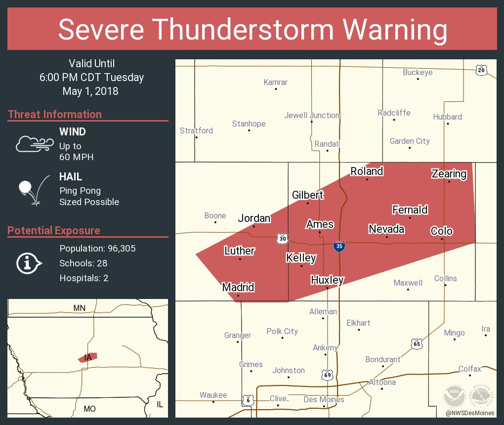 Nws Des Moines On Twitter Severe Thunderstorm Warning Including