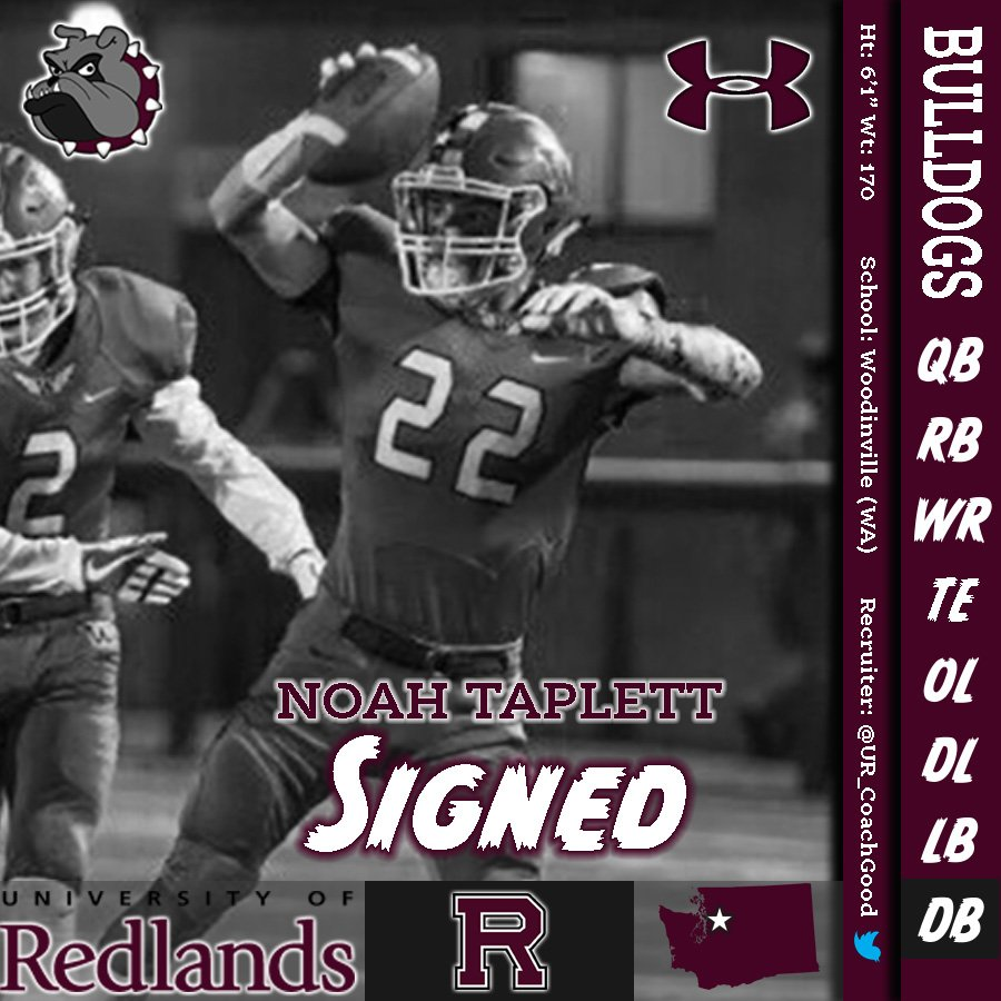 Redlands Bulldog Football On Twitter Please Welcome Noah Taplett