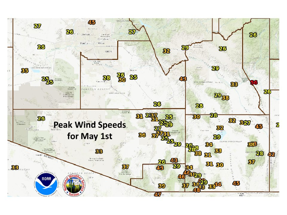 Map Of Southeast Arizona.Nws Tucson On Twitter Peak Wind Speed Map Across Southeast Arizona