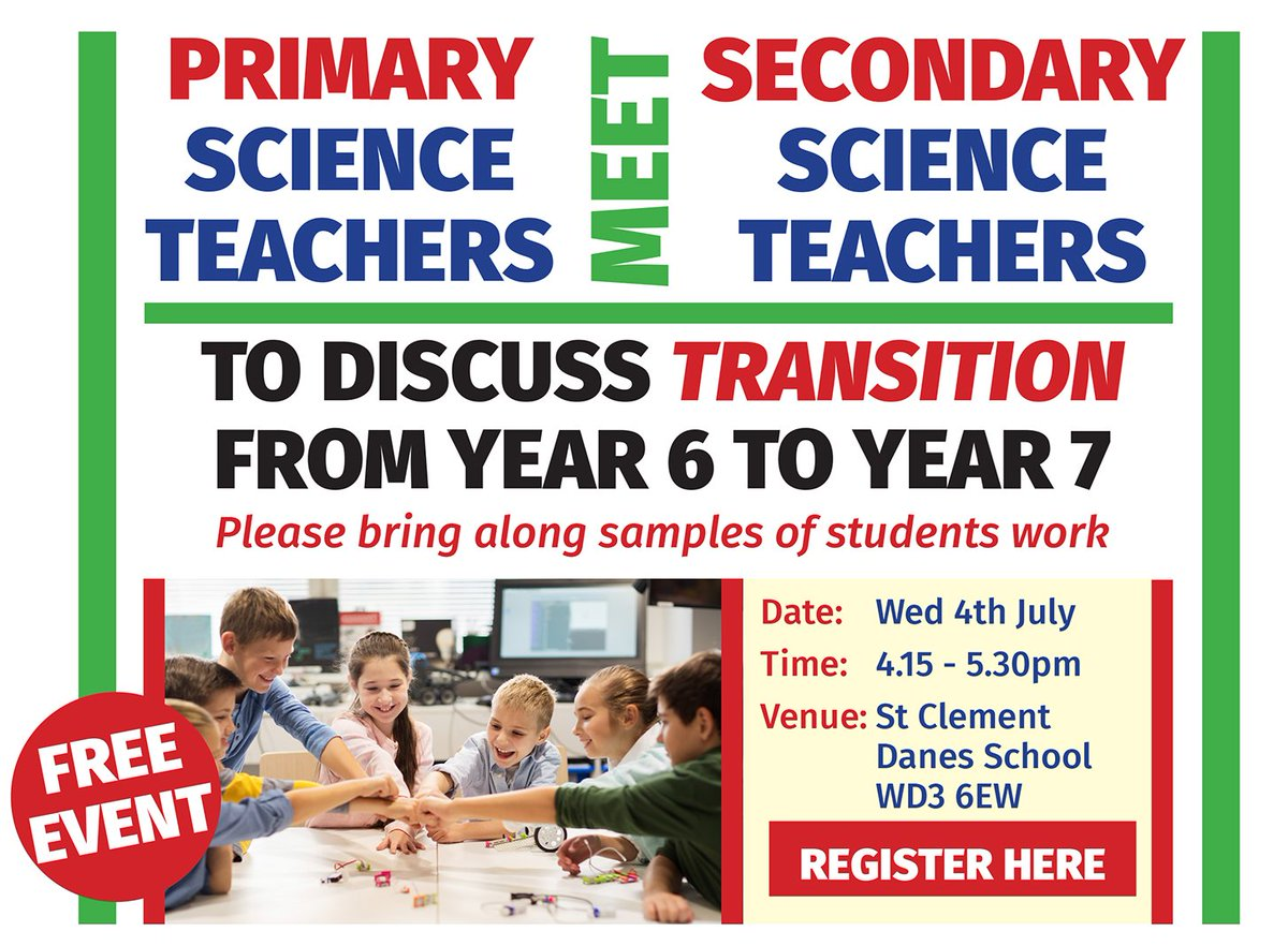Come along to our FREE Science Teach Meet on transition from Year 5 / 6 to Year 7. Primary and secondary teachers, please bring along samples of work on 4th July @SCDSchool . It's going to be an interesting discussion! Details to book on at https://t.co/XRy0llNb2L https://t.co/yJPiVAJwUg