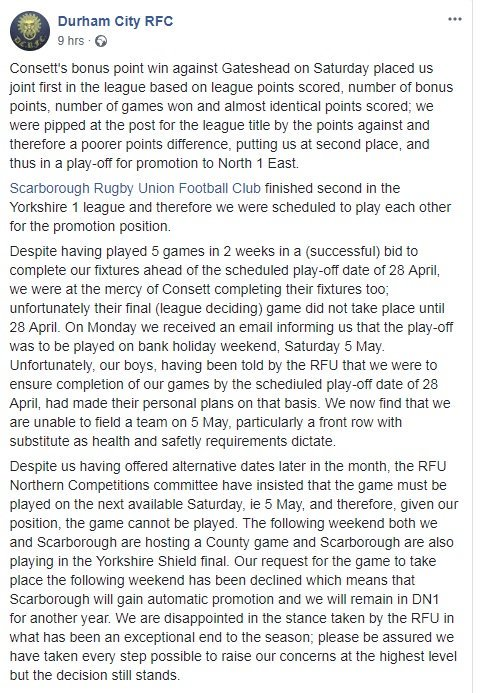 Scarboroughnewssport On Twitter Scarboroughrufc S Play Off Final