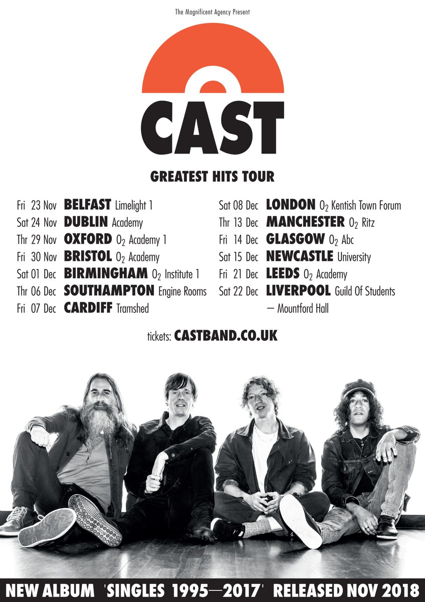6afe403f4ac 'Singles 1995-2017' will be released in November, and tickets for the tour  will be available from our new website http://castband.co.uk at 10am on  Friday ...