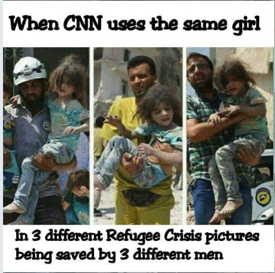"""Christiaan Triebert on Twitter: """"Did CNN use the same little girl in three different refugee crisis pictures? Answer: No, they didn't. This triptych simply captures one girl being passed around from a"""