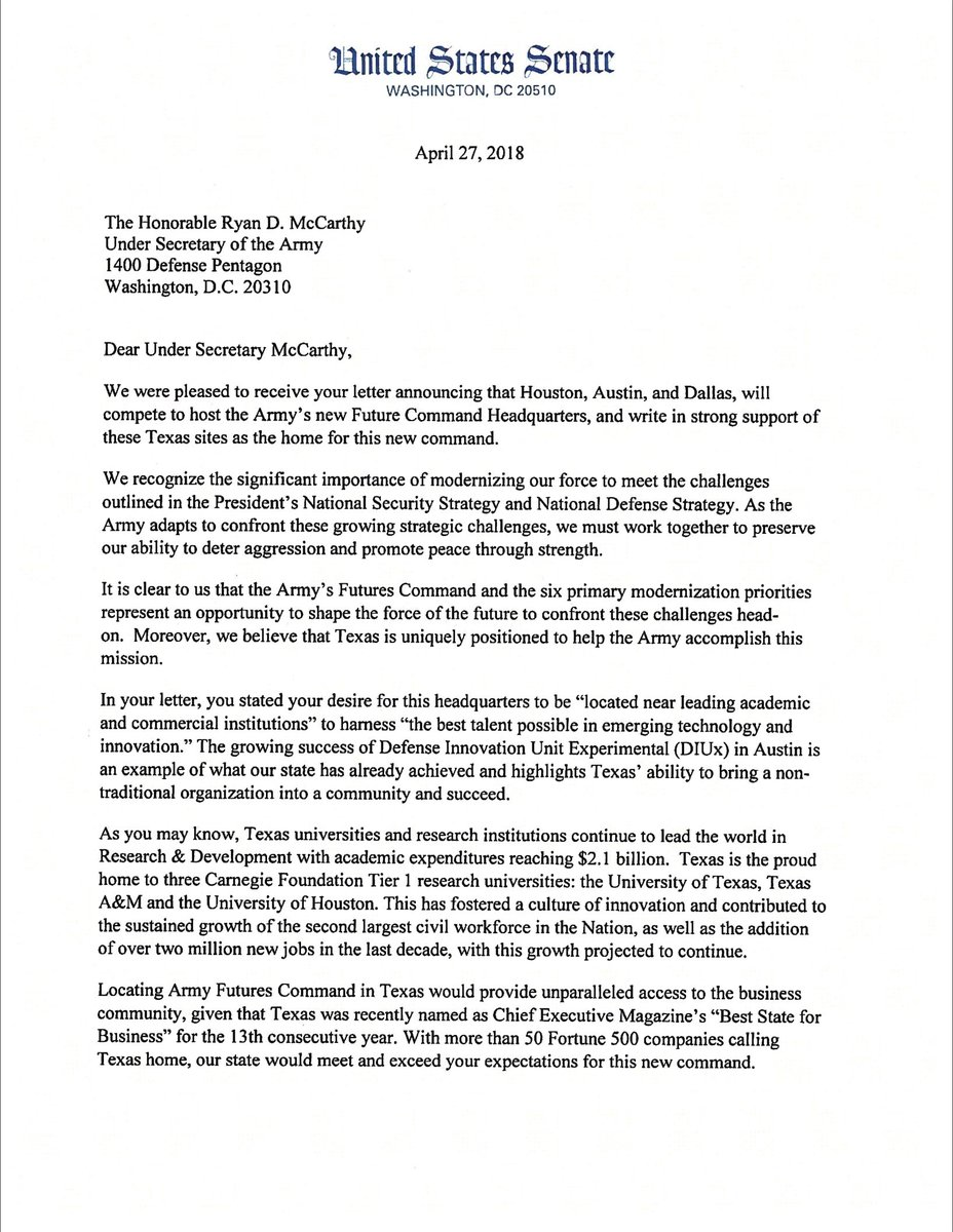 senator ted cruz on twitter proud to be joined by johncornyn govabbott in letter to undersecarmy ryan mccarthy advocating for texas to host the new