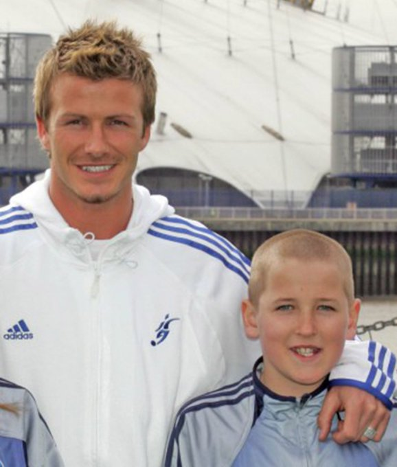 A very happy birthday to David Beckham.  Here he is with a young Harry Kane.  by