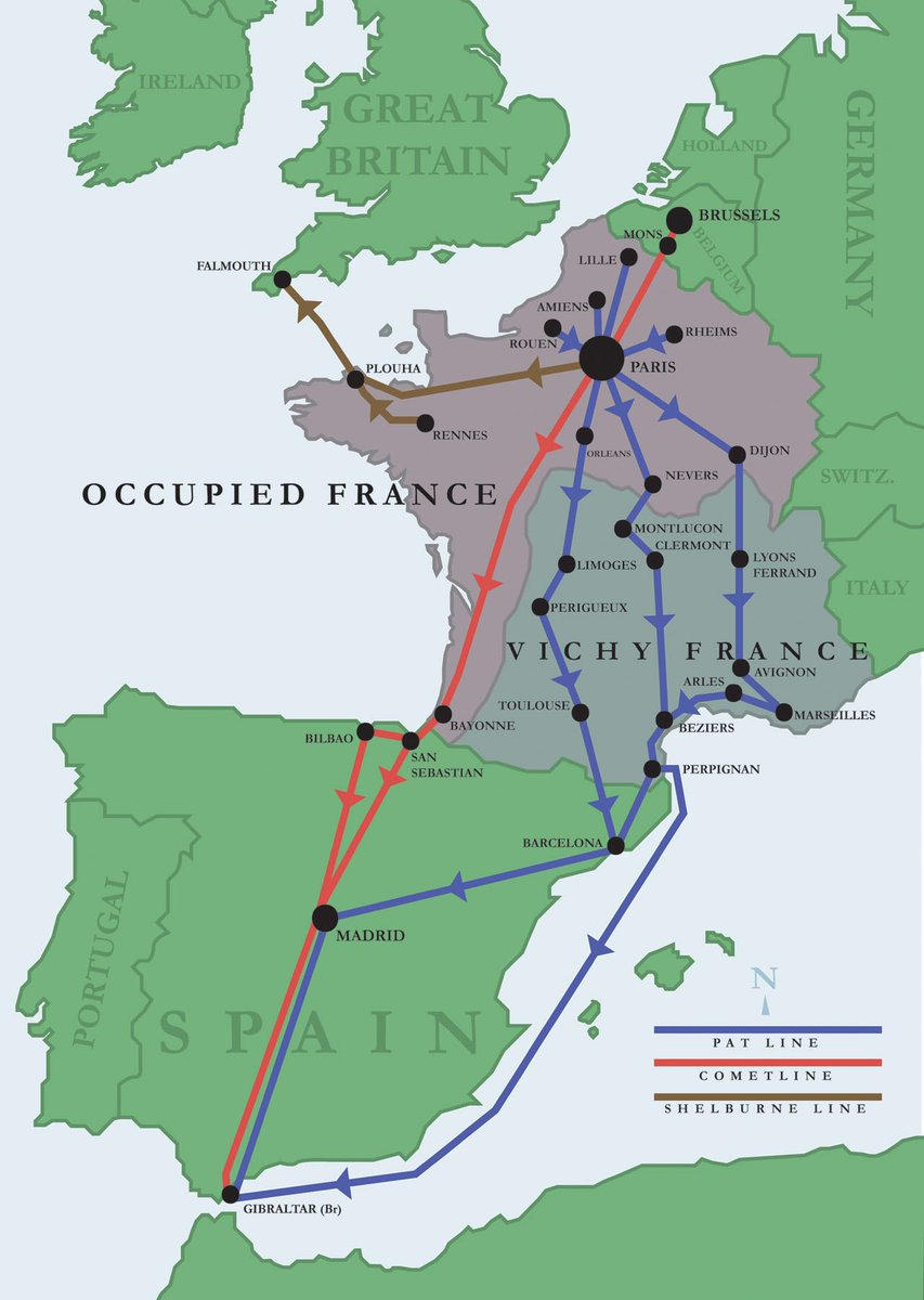 Basque France Map.Bpfta On Twitter Map Of Major Ww2 Escape Lines Through Belgium