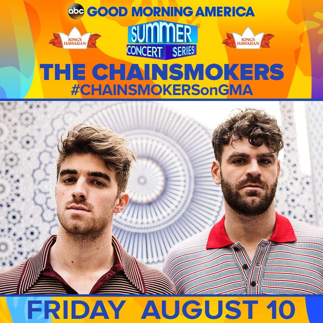 AUGUST 10: Get ready for @TheChainsmokers to rock the stage in Central Park at @GMA&#39;s Summer Concert Series! #CHAINSMOKERSonGMA  https:// gma.abc/2rf2AXx  &nbsp;  <br>http://pic.twitter.com/IU7m6jfvhh