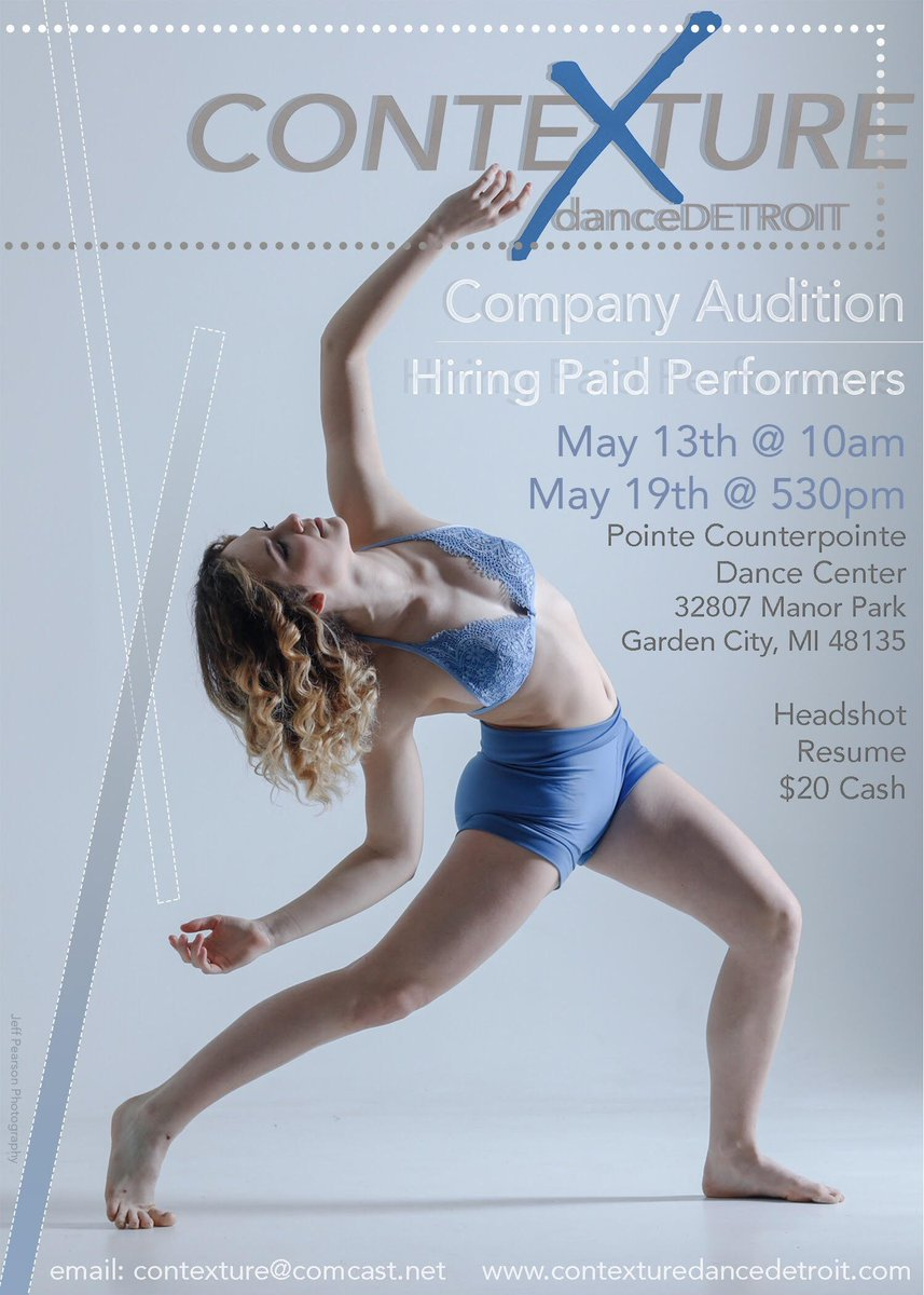 **Audition Alert  Contexture danceDetroit  Company Auditions  Hiring Paid Performers May 13th: 10:00 am May 19th: 5:30 pm   Pointe Counterpointe Dance Center 32807 Manor Park Garden City, MI 48135  Headshot Resume  $20 Cash pic.twitter.com/zzP5z9aqjI