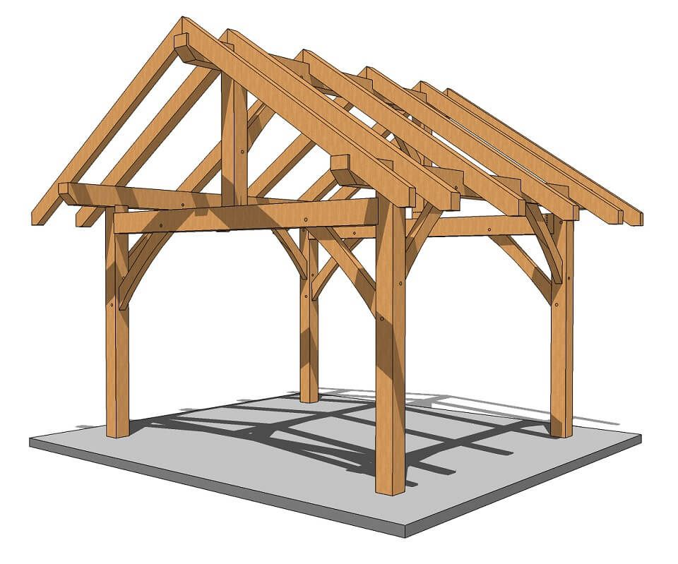 ac4cd617fce 14x14 Post and Beam Outbuilding - Our new plan uses engineered connectors  instead of traditional joinery