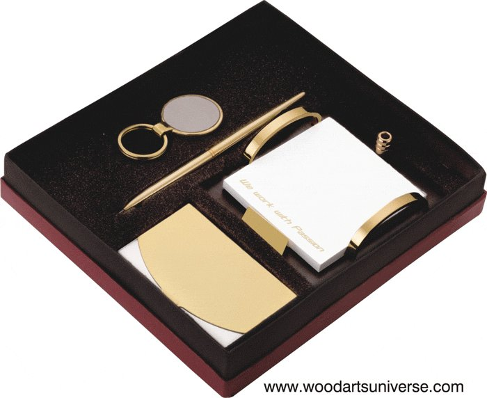 Key Tag and Case Wood Gift Set Personalized Business Card Holder Pen