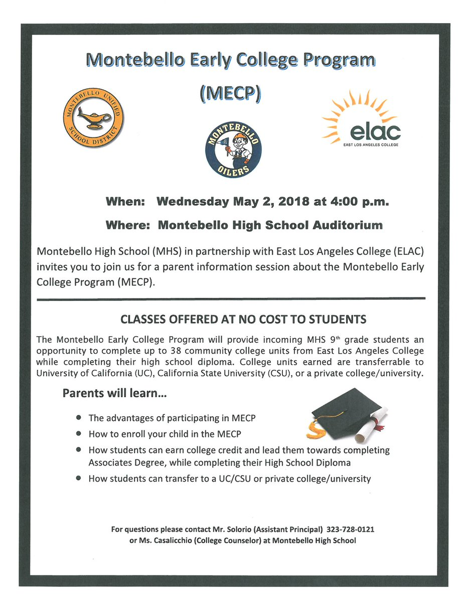 Montebello Unified On Twitter Attention Parents Of Incoming 9th