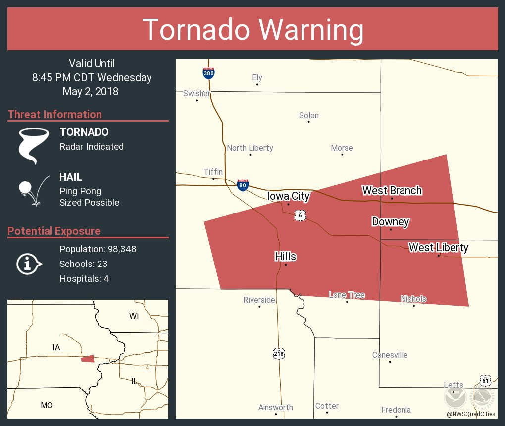 West Branch Iowa Map.Nws Quad Cities On Twitter Tornado Warning Including Iowa City Ia